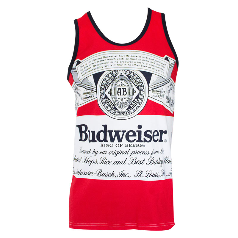 Budweiser Men's Red Large Label Logo Tank Top