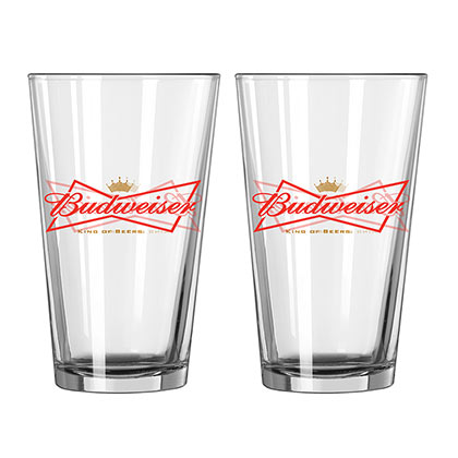 Budweiser Beer 2 Pack Pint Glasses