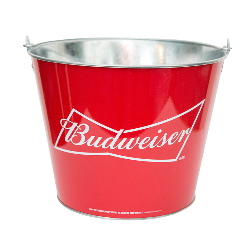 Budweiser Red Metal Ice Bucket
