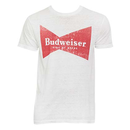 Men's Budweiser Bowtie White Tee Shirt