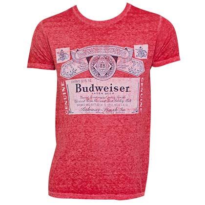 Men's Budweiser Vintage Label Red Tee Shirt