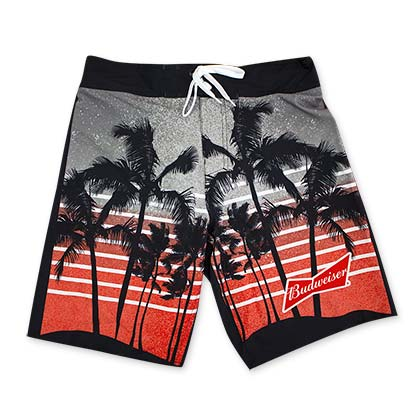 Budweiser Red Palm Tree Board Shorts
