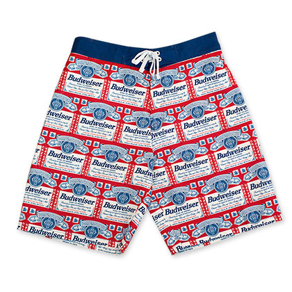 Budweiser White Repeating Label Board Shorts