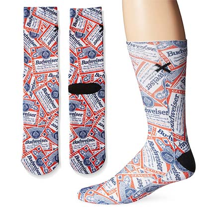 Men's Cotton Budweiser Beer All Over Print Socks