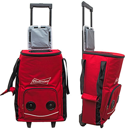 Budweiser Rolling Cooler With Bluetooth Speakers
