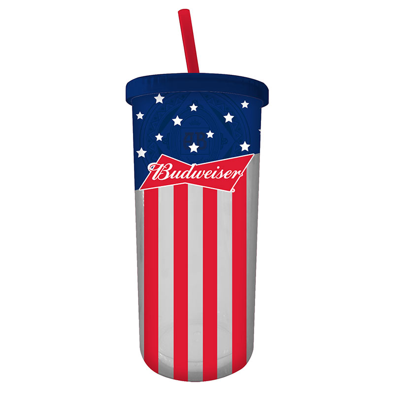 Budweiser Stars And Stripes Travel Cup With Straw And Lid