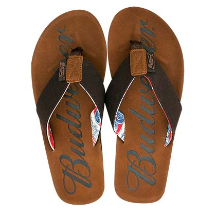 b3c3cb72af42 Budweiser Script Logo Men s Flip Flop Brown Sandals