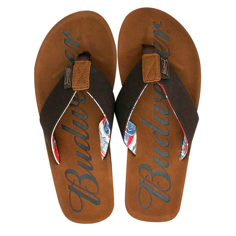 2d61a603b0e Budweiser Script Logo Men s Flip Flop Brown Sandals