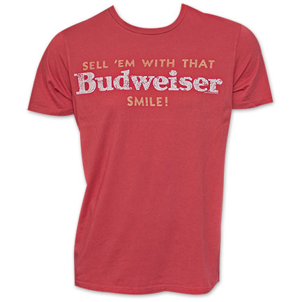 Men's Vintage Red Budweiser Smile Junk Food Brand Tshirt