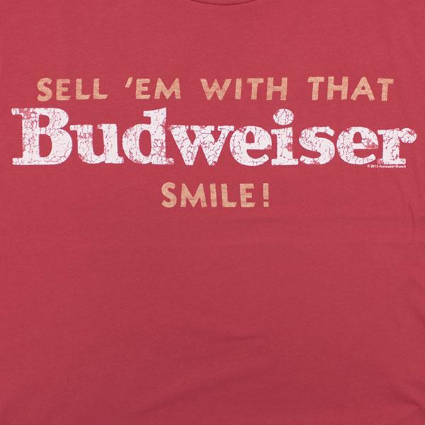 Men's Vintage Red Budweiser Smile Junk Food Brand Tshirt