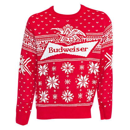 Budweiser Logo Men's Red Xmas Ugly Christmas Sweater