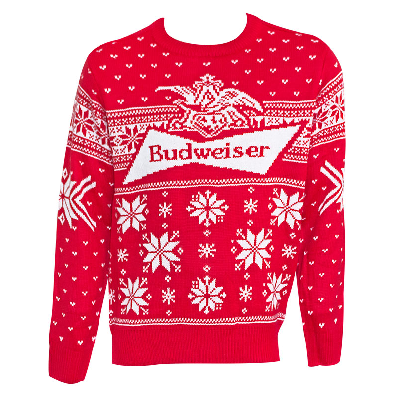 Budweiser Logo Men\'s Red Xmas Ugly Christmas Sweater
