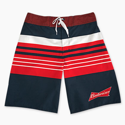 Budweiser Red White And Blue Striped Board Shorts