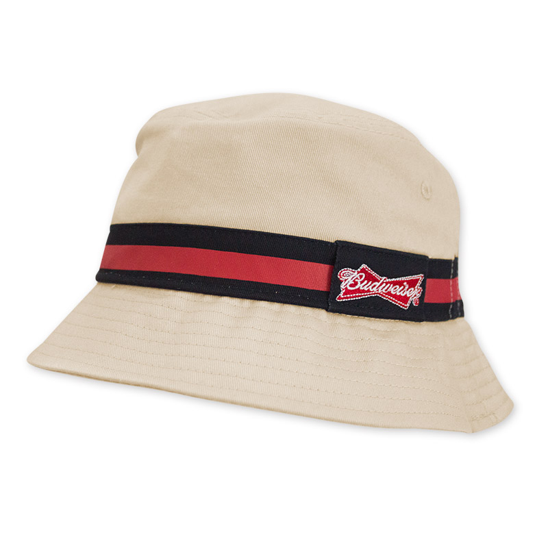 Budweiser Striped Beige Bucket Hat1 POP.jpg dc0c3318c43