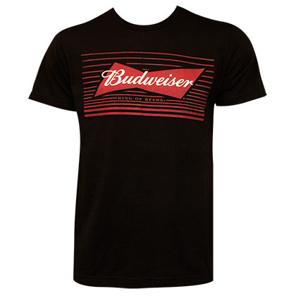 Budweiser Striped Bow Tie Logo Black T-Shirt
