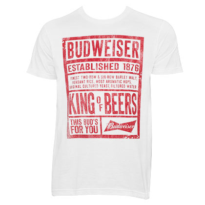 Budweiser Men's White Boardwalk T-Shirt