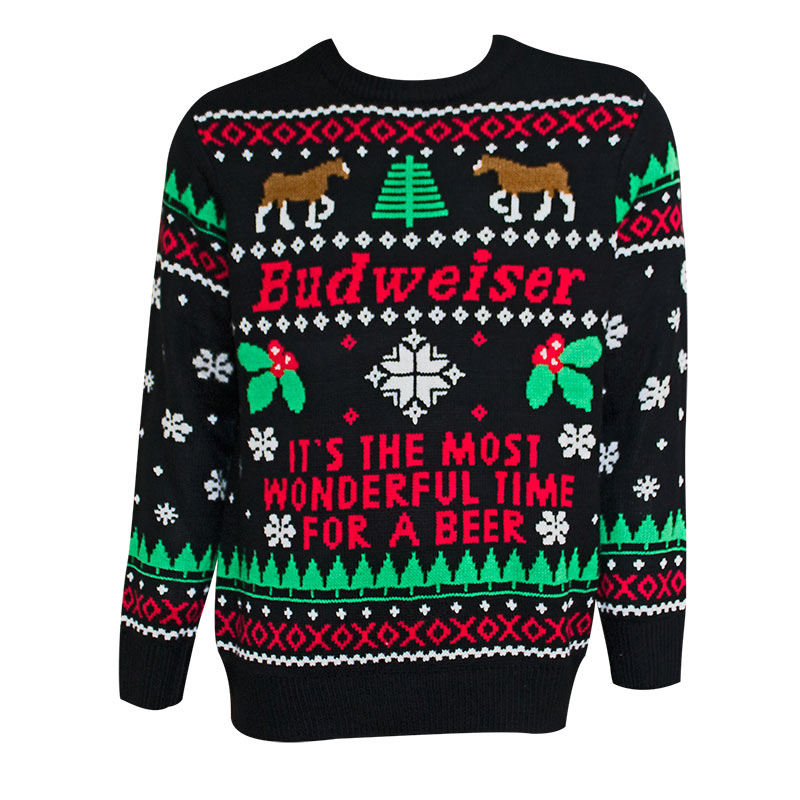 budweiser most wonderful time for beer black ugly christmas sweater