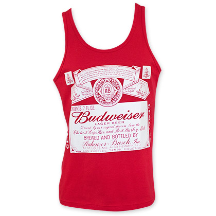 Budweiser White Logo Men's Red Tank Top