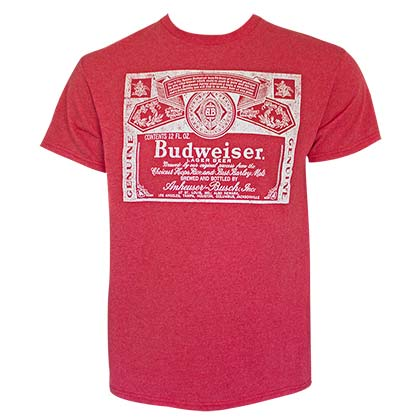 Budweiser Men's Red Vintage Logo T-Shirt