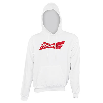 Budweiser Men's White Logo Hoodie