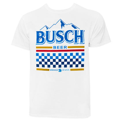 Busch Men's Checkered Racing White T-Shirt
