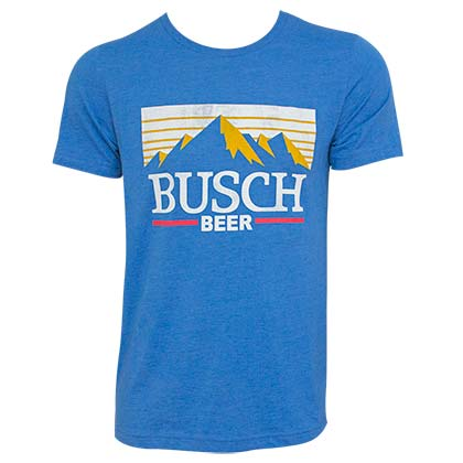 Busch Light Mountain Logo Blue Tee Shirt