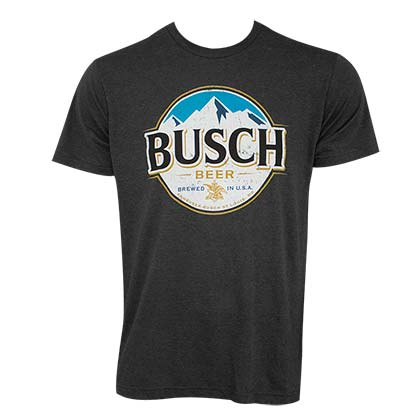 Busch Heather Black Round Logo Tee Shirt