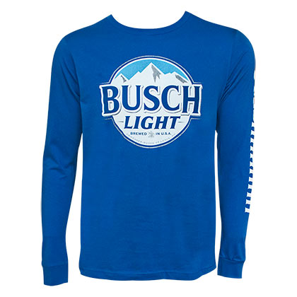 Busch Light Long Sleeve Blue Sleeve Print Tee Shirt