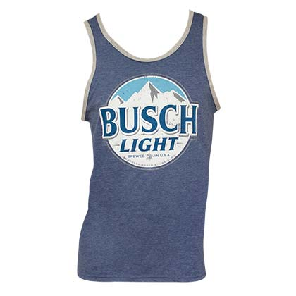 Busch Light Logo Mens Ringer Heather Blue Tank Top