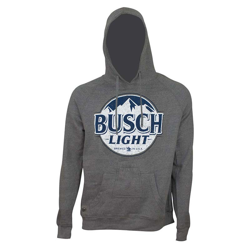 Busch Light Men's Dark Grey Bottle Opener Beer Pouch Bottle Label Hoodie