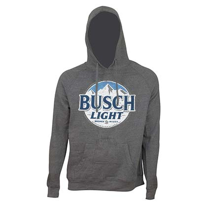 Busch Light Men's Grey Round Logo Beer Pouch Hoodie