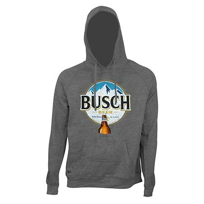 Busch Bottle Opener Men's Grey Round Logo Beer Pouch Hoodie