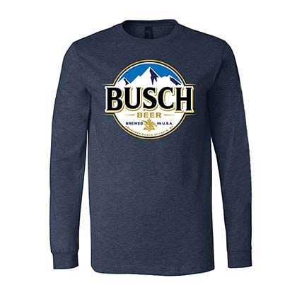 Busch Beer Round Logo Men's Long Sleeve Dark Blue Tee Shirt