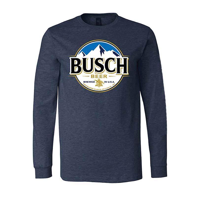 Busch Beer Round Logo Men's Long Sleeve Blue T-Shirt