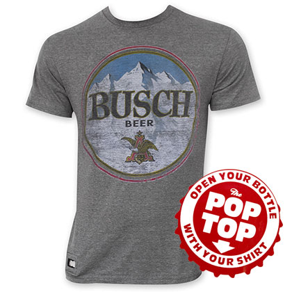 Busch Men's Gray Pop Top Bottle Opening Tee Shirt
