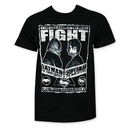 Batman V Superman Black Fight Poster T-Shirt
