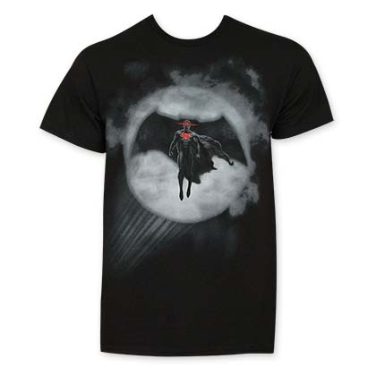 Batman V Superman Black Batman In Bat Signal T-Shirt
