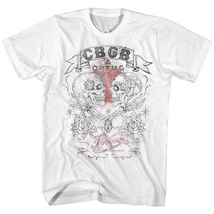 CBGB & OMFUG Skulls White Tshirt