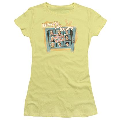Brady Bunch Here's The Story Yellow Juniors T-Shirt