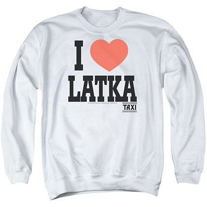 Taxi I Heart Latka White Crew Neck Sweatshirt