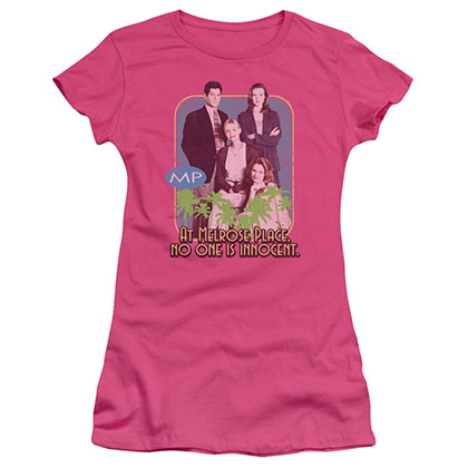 Melrose Place No One Is Innocent Pink Juniors T-Shirt