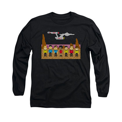 Star Trek TOS Pixel Crew Black Long Sleeve T-Shirt