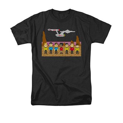 Star Trek TOS Trexel Pixel 8-Bit Black T-Shirt