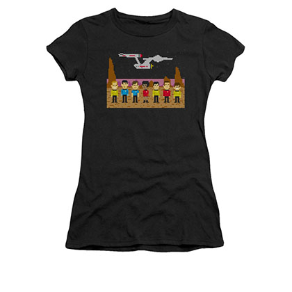 Star Trek TOS Trexel 8-Bit Pixel Black Juniors T-Shirt