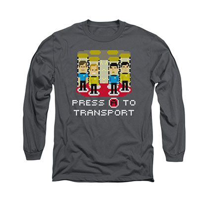 Star Trek Press A To Transport Gray Long Sleeve T-Shirt