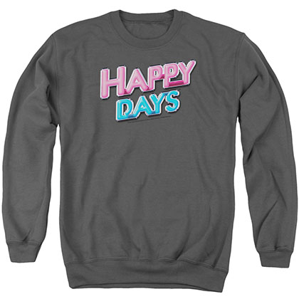 Happy Days Happy Days Logo Gray Crew Neck Sweatshirt