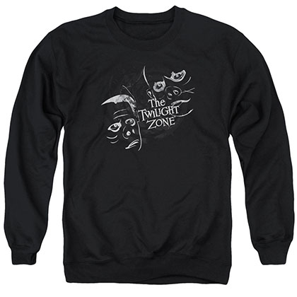 Twilight Zone Strange Faces Black Crew Neck Sweatshirt