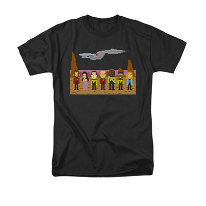 Star Trek TNG Trexel 8-Bit Pixel Black T-Shirt