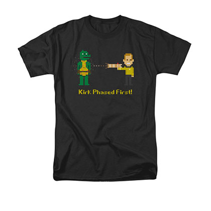 Star Trek Men's Black Kirk Phased First 8-Bit Pixel Tee Shirt