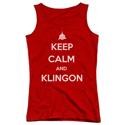 Star Trek Keep Calm And Klingon Red Juniors Tank Top